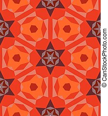 Multicolor geometric pattern in bright red Vector seamless...