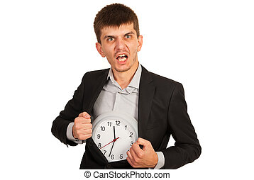 Rage business man with clock into coat