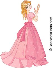 Princess with lipstick - Illustration of fairytale princess...