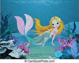 Mermaid and dolphin background - Cute mermaid swimming with...