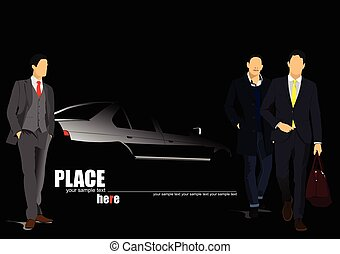 White car silhouette with men on b