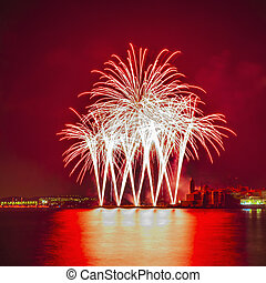 SITGES, SPAIN - AUG 23: Castell de Foc firework display...
