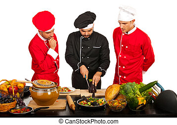 Chef teacher with students in kitchen - Chef teacher with...