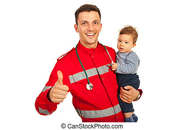 Successful paramedic with baby