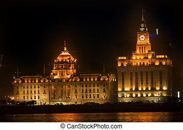 Shanghai Bund at Night Close Up - The Bund, Old Part of...