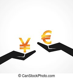 Hand hold yen and euro symbol to compare their value stock...