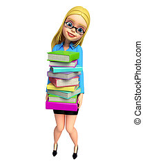 Young girl caring books pile - 3d rendered illustration of...