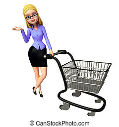 Young girl with trolley - 3d rendered illustration of Young...
