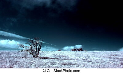 4K. InfraRed landscape: Movement of the clouds on the...