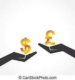 Hand hold dollar and pound symbol to compare their value...