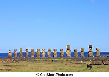 The famous fifteen moai, Ahu Tongga - The famous fifteen...
