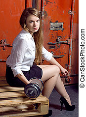 business woman hold the free weights - young business woman...