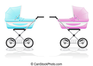 babys perambulator pink and blue illustration isolated on...