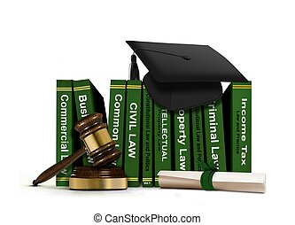 Books with Mortarboard and Scroll