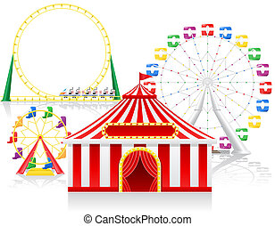 circus tent and attractions illustration