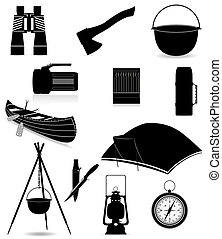 set icons items for outdoor recreation black silhouette illustration isolated on white background