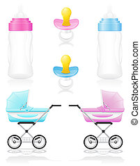 set icons perambulator bottle pacifier pink and blue...