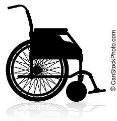 wheelchair black silhouette illustration isolated on white...