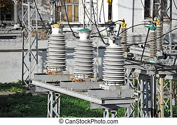 AC substation high voltage - Part of high-voltage substation...
