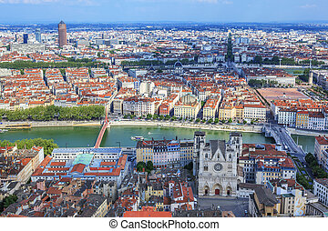 view of Lyon - Famous view of Lyon from the Notre Dame de...