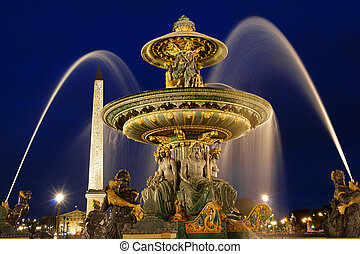 Place de la Concorde by night in Paris, France - The rivers...