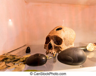 Embalmed mummy and skull in Peru. Bones at Chauchilla...