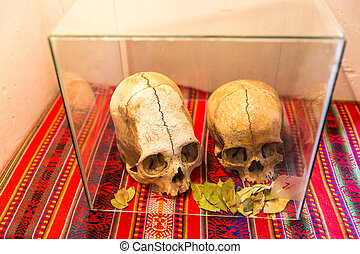 Embalmed mummy and skull in Peru Bones at Chauchilla...