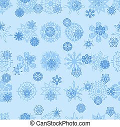 Blue snowflakes seamless illustration - Blue different...