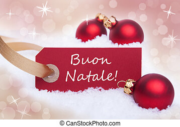 Red Label With Buon Natale - A Red Label With the Italian...