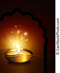oil lamp with with place for diwali diya greetings
