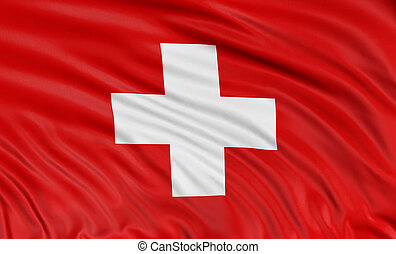 3D Swiss flag with fabric surface texture. White background....