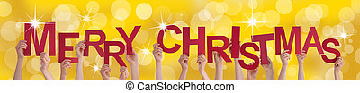 Hands Holding Merry Christmas on Golden Background - Many...