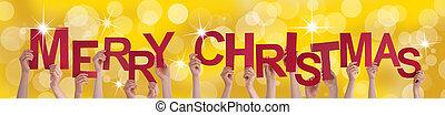 dorado, Plano de fondo, Manos, alegre, tenencia, navidad