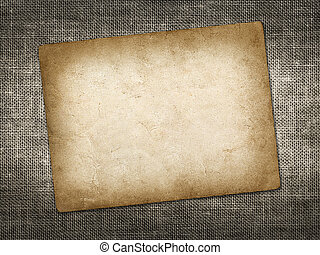 Old vintage card on linen grungy background
