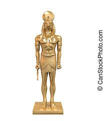Egyptian God Horus Statue isolated on white background. 3D...