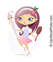 Little Girl with Doll - The vector illustration of the Girl...