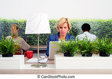 Sustainable Hot Desking - Business woman working in a green...