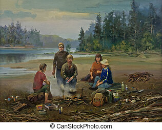 Paleontologists - The Oil Painting of the Work Scene of...