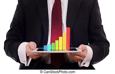 3d chart on tablet - businessman presenting a 3d display of...
