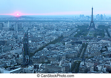 Paris and Eiffel tower seen from the top of montparnasse...