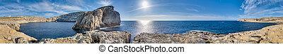 Fungus Rock, on the coast of Gozo, Malta - Fungus Rock,...