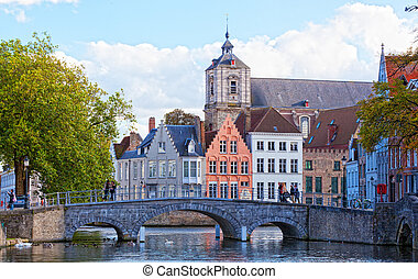 ancient stone bridge in Bruges, Belgium