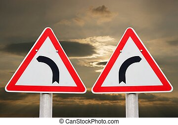 substrSigns,0,200 - substrTurning traffic signs showing...