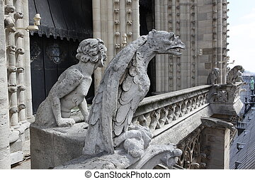Notre Dame of Paris, famous Chimeras, overlooking the...