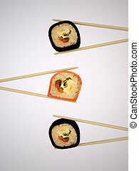 Japanese Sushi - The Three-dimensional Still-life of the...