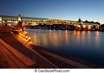 Andreyevsky Pushkinsky Bridge left side across Moskva River,...