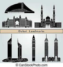 Dubai landmarks and monuments isolated on blue background in...