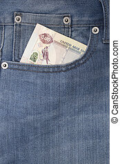 Pocket with money - Denim jeans pocket with five hundred...