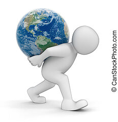 Man and Globe Image with clipping path