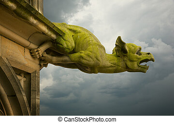 gargoyle on Ulm Munster church, Ulm, Germany